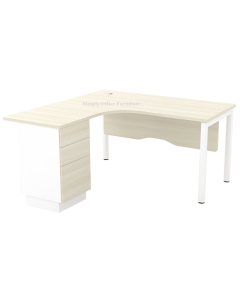 1.5m Ergonomic L-Shaped Table With Pedestal